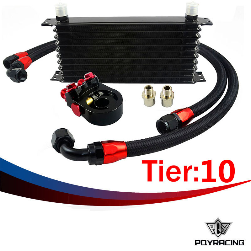 Здесь можно купить   PQY RACING- Universal 10 ROWS Trust type OIL COOLER+AN10 Oil Sandwich Plate Adapter with Thermostat+2PCS NYLON BRAIDED HOSE LINE Автомобили и Мотоциклы