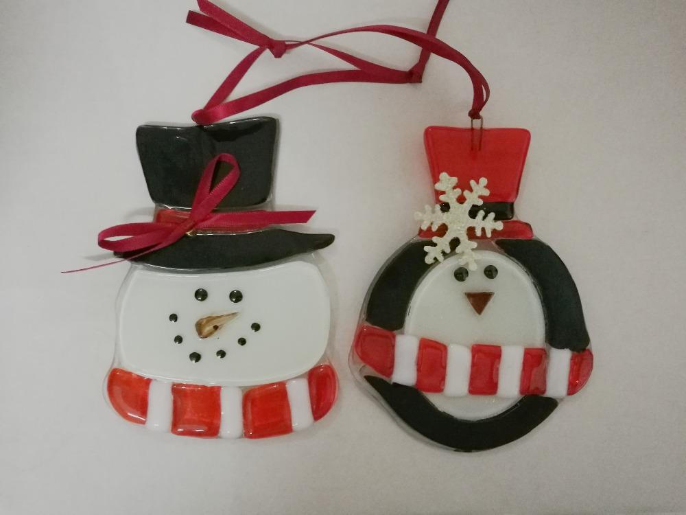 vidrios de colores mueco de nieve pingino de alta calidad adornos para rboles de navidad