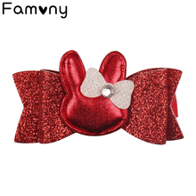 Glitter Hair Bow Easter Day Rabbits  Bow Knot Hair Clip Handmade Leather Kids Hairgrips With Rhinestone Girls Hair Accessories glitter bow hair clip