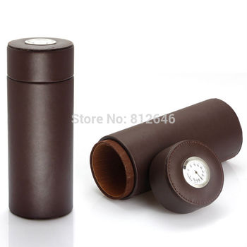 Cigar Gadgets Brown Leather Cedar Wood Cigar Jar Tube Small Humidor Cigar Storage Box 5-7 pcs W Humidifier & Built-in Hygrometer