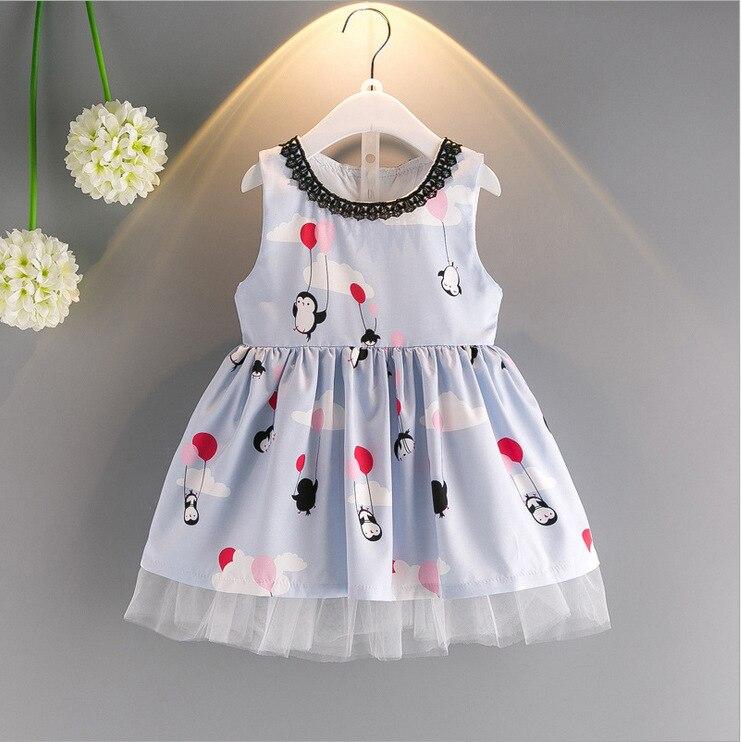 New 2018 summer childrens dress cartoon little penguin girl dress net yarn bottom vest dress