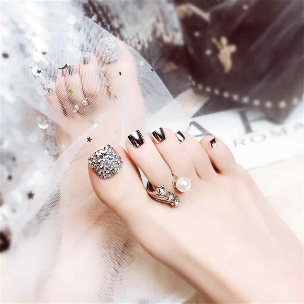 24Pcs Charming Foot False Nail Tips Glitter Rhinestone Fake Toes-Nails With Glue Manicure Glitter  DIY Manicure Sticker Fashion