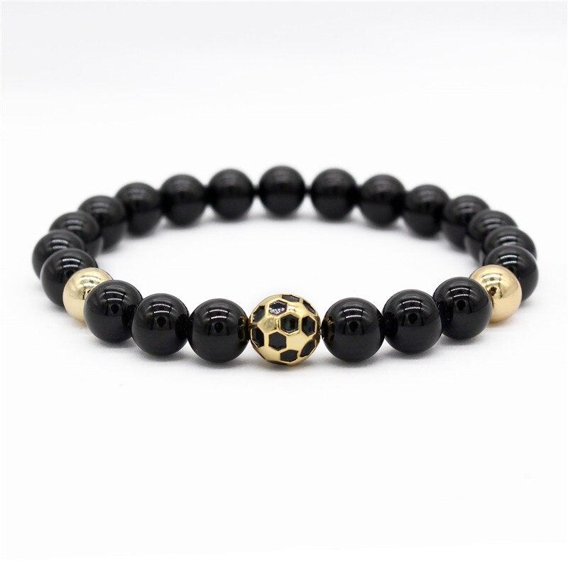 Gold Football Charm Bracelet for Men Sport Jewelry 8mm Black Stone Bracelets & Bangles MBR180220