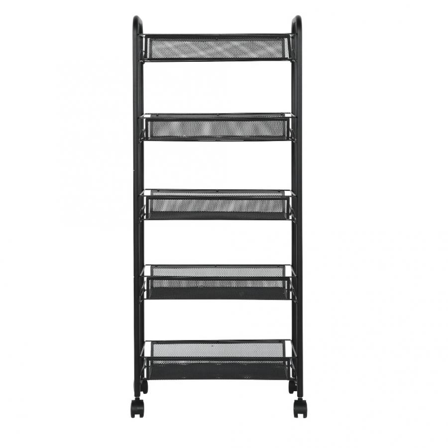 Removable 5 Tiers Metal Storage Rack Trolley Cart For Hair Salons Beauty Salons