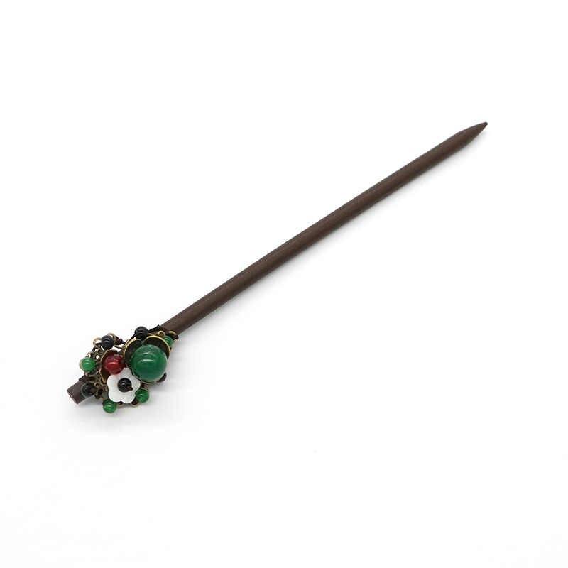 ชาติพันธุ์ดอกไม้ผมสไตล์จีนชาติพันธุ์บรอนซ์โลหะผสมผม Sticks สีเขียวลูกปัดเครื่องประดับ Headpiece ผู้หญิงเครื่องประดับ