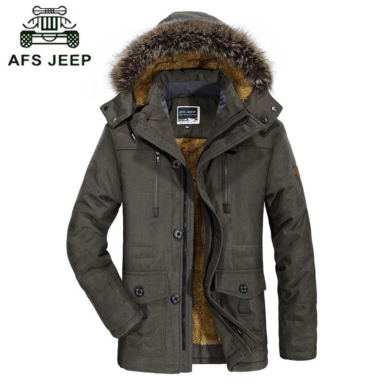 ФОТО L-6XL Brand parka men AFS JEEP Winter jacket men fur collar thickening warm mens winter parka with fur hood men parka coat