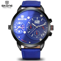 SKONE Sub Dial function Chronograph Watches Men Dual Time Zone Canvas Strap Waterproof Sport Watch Casual Army relogio masculino