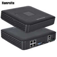 Hamrolte CCTV NVR 4CH POE NVR 48V Input Full HD 1080P For IEEE802.3af 48V POE IP Camera Motion Detection Access Remote IE Cloud