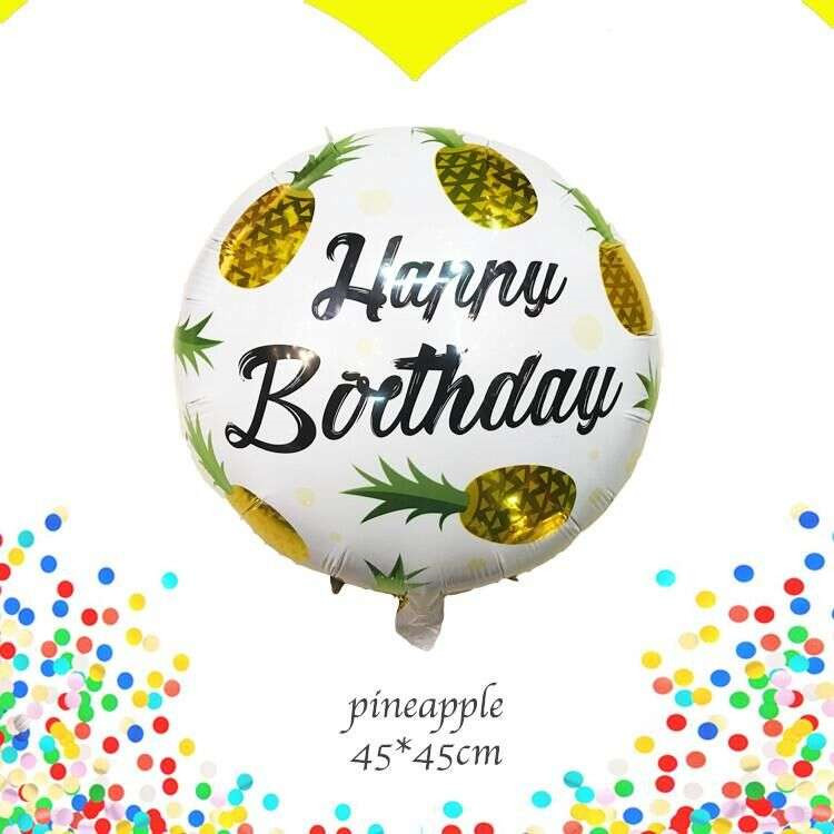Lucky 10pcs/lot 45*45cm Pineapple Happy Birthday Balloon Inflatable Foil Helium Balloons Party Wedding Decorations Air Globos