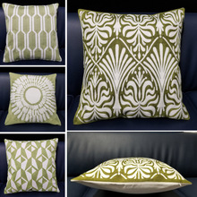 Luxury Home Decor Embroidered Cushion Cover Modern White Green Geometric Canvas Cotton Suqare Embroidery Pillow 45x45cm