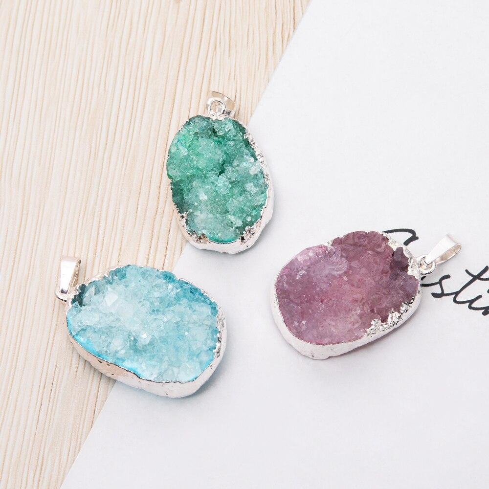 1pc Natural Crystal Pendant Druzy Handmade Gems Stone Pendants Jewelry Making DIY Necklace