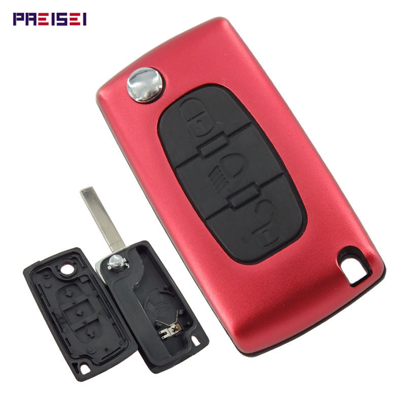 PREISEI New Aluminum <font><b>Red</b></font> CE0536 Light Button Blade No Groove 3 Buttons Car Remote Flip Key Covers For <font><b>Peugeot</b></font> <font><b>307</b></font> key Fob image