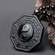 Yi Yang Necklace for mens, Black Obsidian