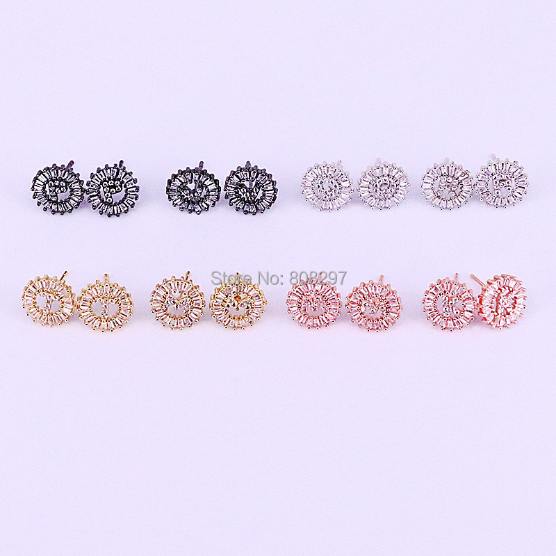 10Pair New Fashion letter charms Micro pave Cubic zircon Initial letter Earring Studs jewelry gift for