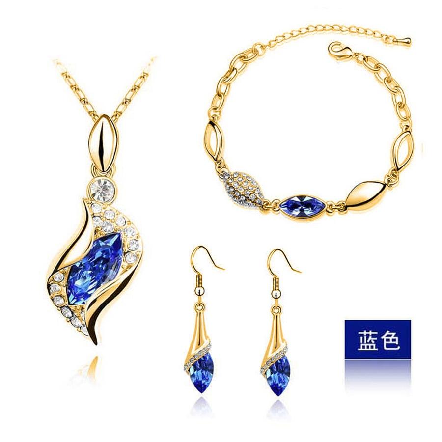 Top Qualität Elegantes Luxus Design neue Mode 24 Karat Roségold Farbe bunte österreichische Kristall Tropfen Schmuck setzt Frauen Geschenk