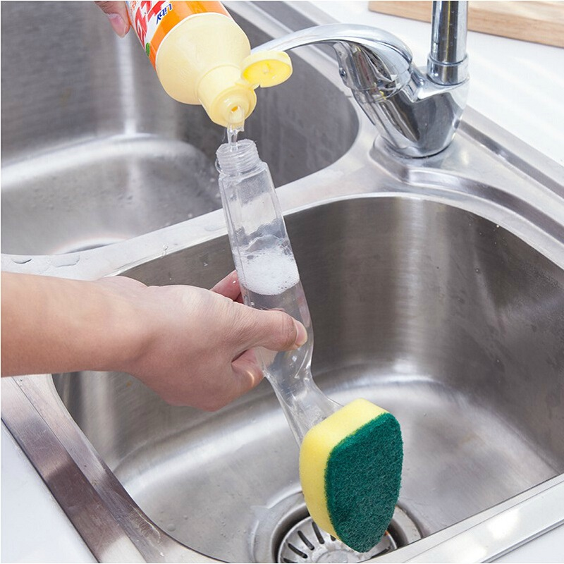 Creativo Conveniencia Extraíble Cabeza de Esponja Cepillo de Lavado de Mango Lar
