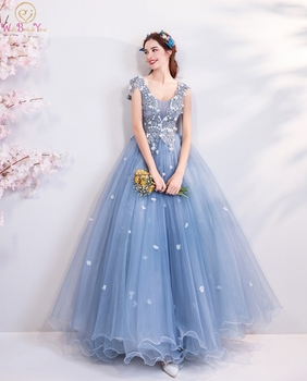 2020 Blue Evening Dresses Elegant V Neck Lace Applique Beads Crystal A line Sleeveless Long Prom Gown Graduation Walk Beside You