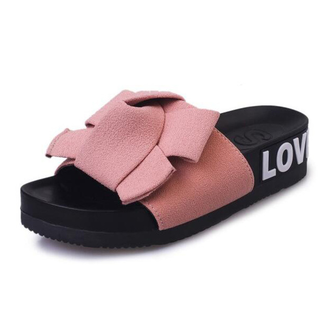 Tangnest Summer Beach Floral Woman Slippers Butterfly-Knot 2017 New Women Flat Platform Sweet Soft Solid Female Slides XWT608