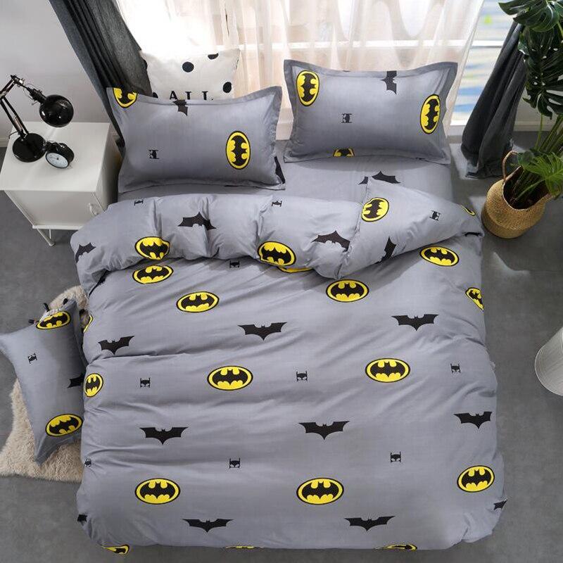 Желтый Бэтмен пододеяльник лист наволочки полиэстер Постельное белье один queen King Размеры постельное белье 4 шт. для детей