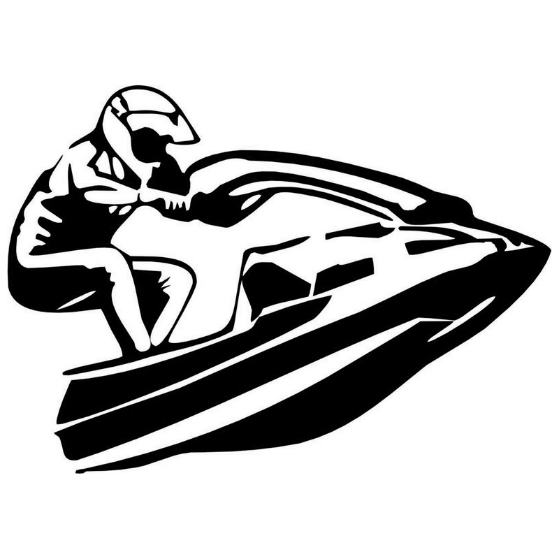 15.5cm*11.1cm Jet Ski Boat Car-Styling Decoration Vinyl Stickers Decals Black/Silver S3-5059