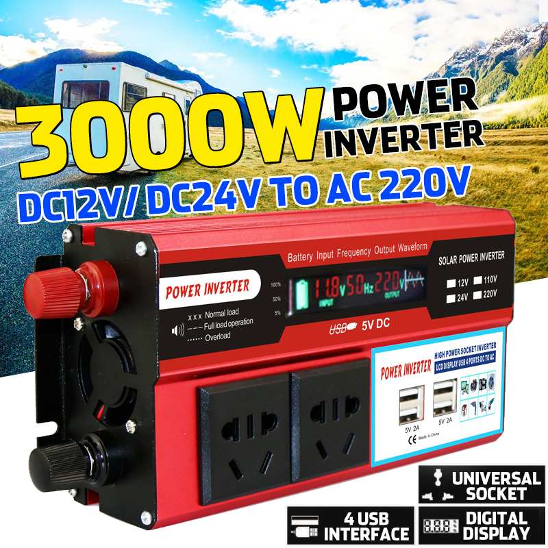 3000W 4 USB Solar Power Inverter DC 12/24V To AC 220V Car Adapter Charge Converter LCD Display Modified Sine Wave Transformer