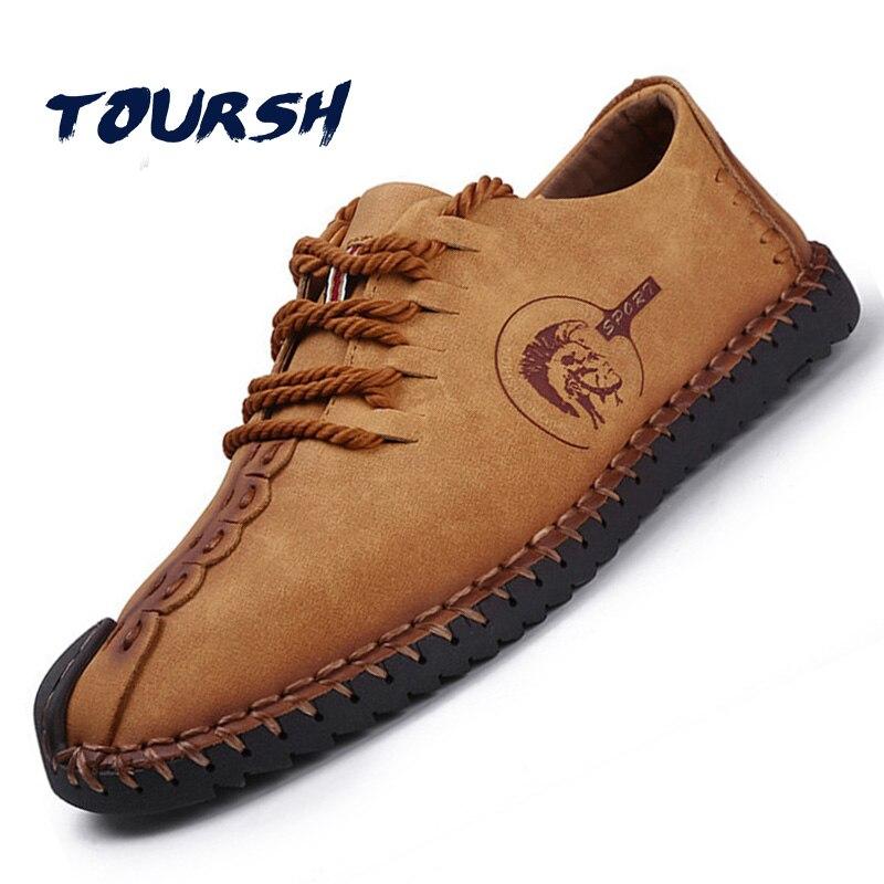 TOURSH Shoes Men Casual Leather Shoes Men Flats Leather ...
