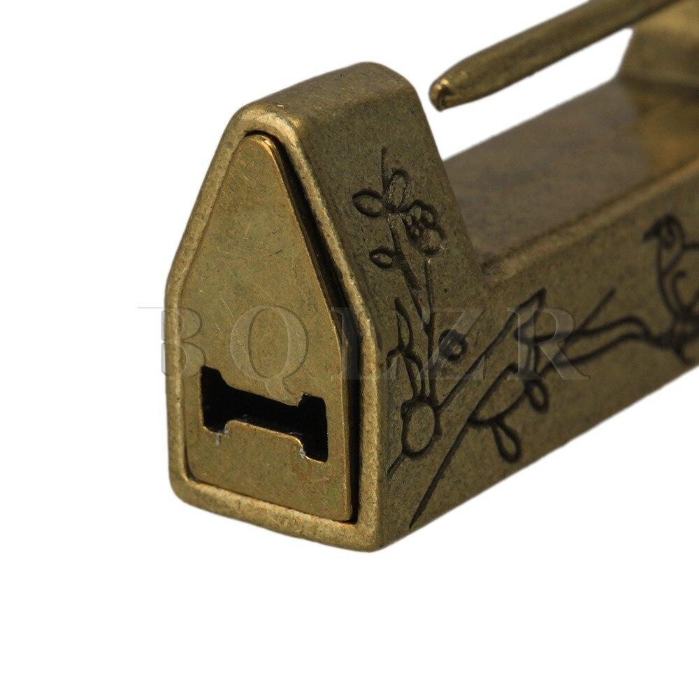 Zwindy Lucchetto Serratura Cinese per cassetto per portagioie Magpie Bronze Serratura Antica Fiore Intagliato Uccello Piccolo Lucchetto Decorativo Lucchetto Vintage