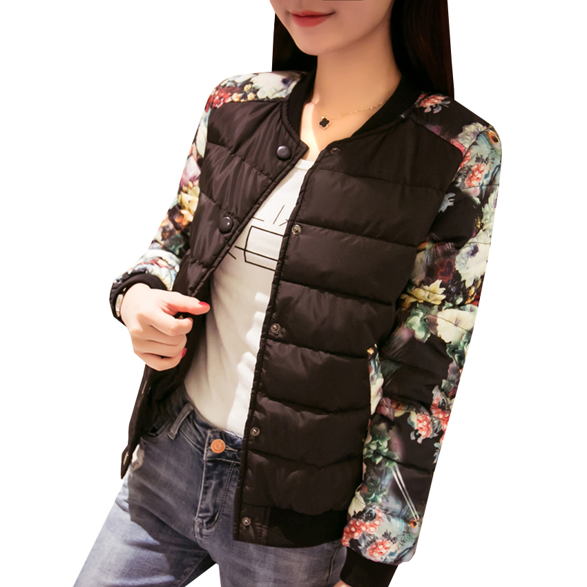 New Autumn Winter Women Short   Parka   Coat Slim Thin Down Cotton Padded Jacket Leopard Flower Outwear Female Warm Coats TopsAB481
