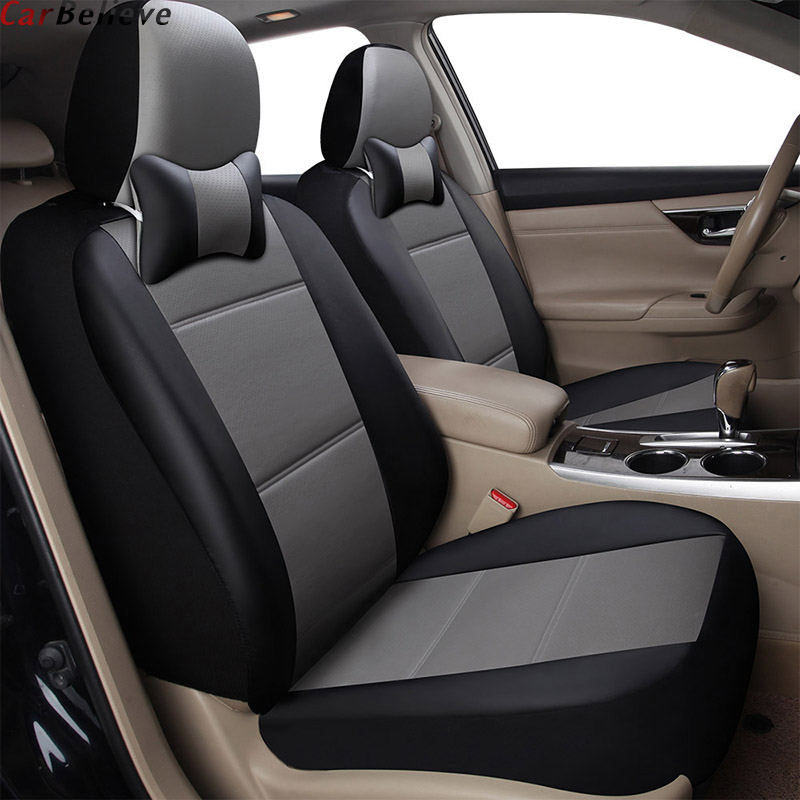 Car Believe 2 PCS car seat cover For mitsubishi pajero 4 2 sport outlander xl asx accessories lancer covers for vehicle seat