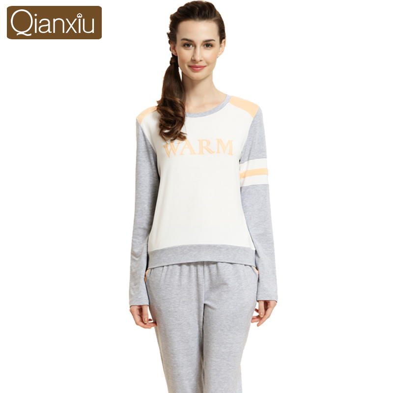 Qianxiu brand pajamas soft cotton sleepwear long sleeve Long cotton sleep shirts