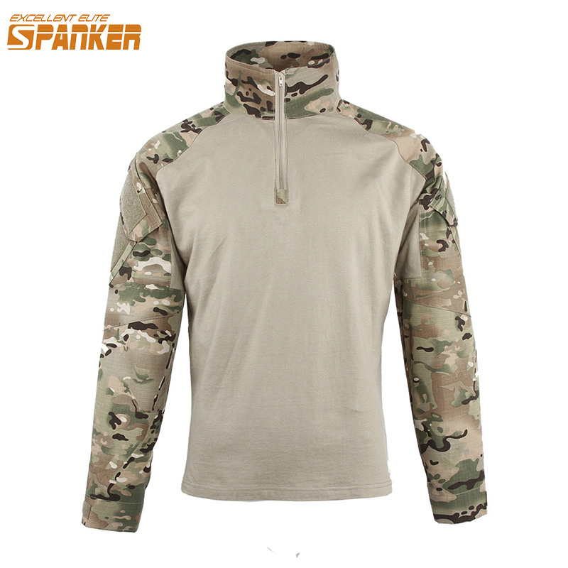 EXCELLENT ELITE SPANKER Male Army Combat Assault T-shirts Military Camouflage Long Sleeve T Shirts Outdoor Men Hunting T-shirts