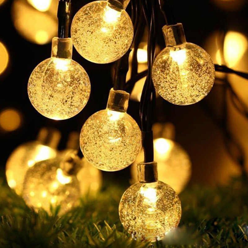Waterproof 20/30/50 LED Crystal Ball LED Solar Lamp String Fairy Lights Solar Garlands Garden Christmas Decor For Outdoor