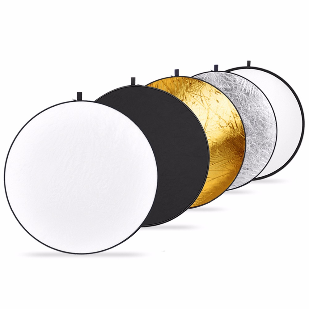 Neewer Prijenosni 5 u 1 60 cm prozirni, srebrni, zlatni, bijeli i crni sklopivi okrugli reflektor za svjetla za disk