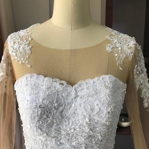 Image 5 - Fansmile 2020 ארוך שרוול Vestido דה Noiva תחרה שמלות חתונה שמלות מחוייט בתוספת גודל כלה טול Mariage FSM 538F
