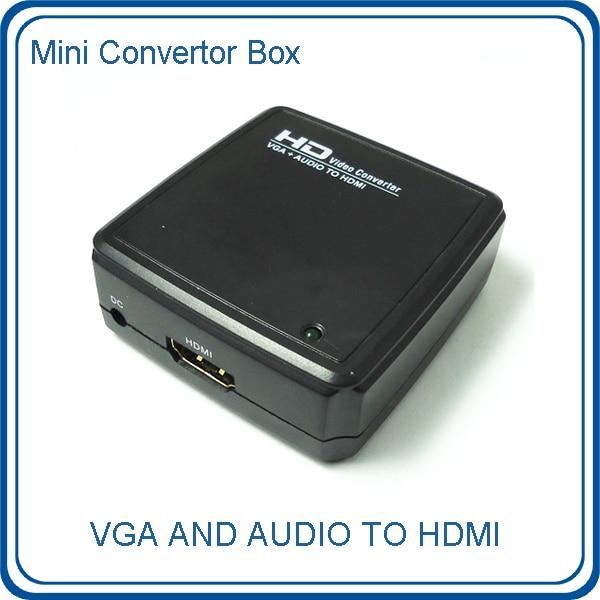 Free Shipping Laptop PC VGA Audio to HDMI HDTV AV Mini Converter Box V2HD02