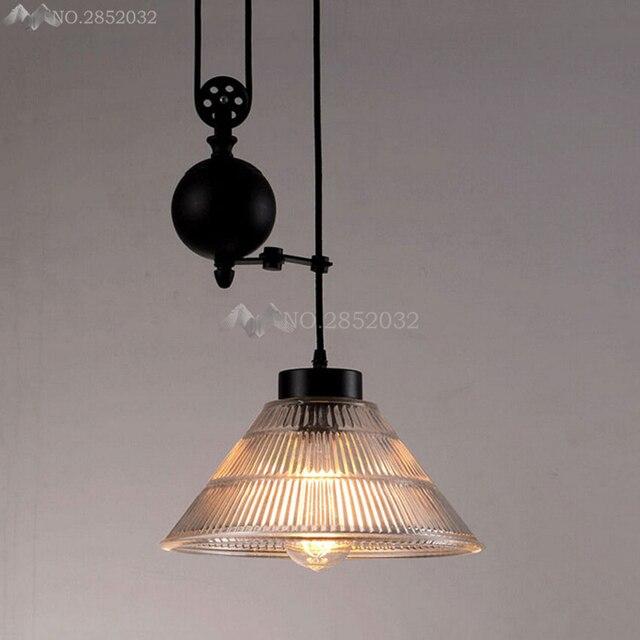 Loft Vintage Pendant Lights Iron Pulley Pendant Light Industrial