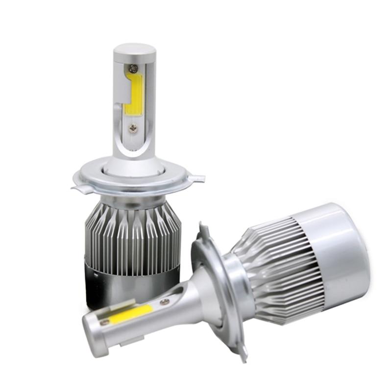 2Pcs/Pair High Power COB Chip C6 Car LED Headlight 8-48v DC H4 Hi/Lo Beam 72W 7600LM Auto LED Headlamp White 6000k