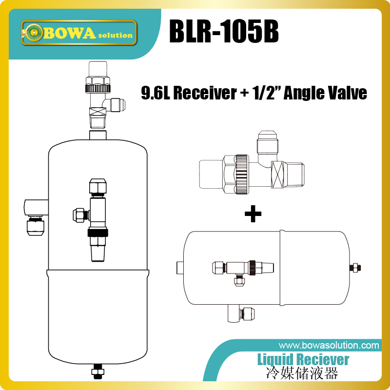 9.6L liquid reciever with 1/2 shutoff valve is good kit for connecting expansion tank in cascade freezer, easy to maintain r410a fridge solenoid valves is suitable for liquid line of low stage of 2 stage cascade freezer units holding 40 c r23