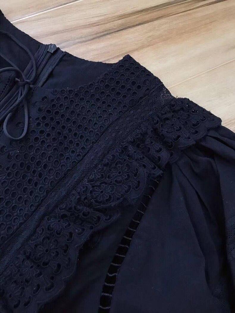 Noir Mini cou Évider O Broderie Ziwwshaoyu Nouvelles Femmes Vacances Ruches Plage Robes Sexy 100Coton Robe Élégant D'été PkXOiZu