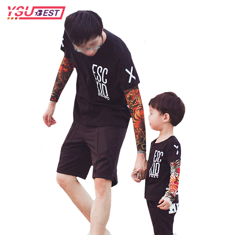 Family Matching Clothes Children T Shirts Tattoo Pattern Sleeve Mesh Family Look Baby Boys Girls T Shirts Cotton Tops Kids Tees family look grey star pattern matching sweatshirts