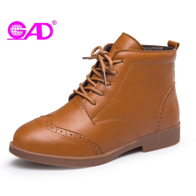 GAD Women Boots New Arrival Warm Fur Winter Shoes Women Waterproof Snow Boots Fashion Lace-up Low Heel Ankle Boots for Women