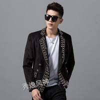 2019 autumn winter men's new personality rivets suede suit jacket fashion trend Slim handsome heavy craft Singer stage costume