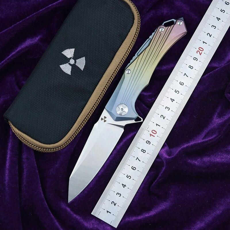 LEMIFSHE JK3287 Flipper D2 steel blade Titanium handle outdoor camping hunting pocket kitchen fruit folding knife