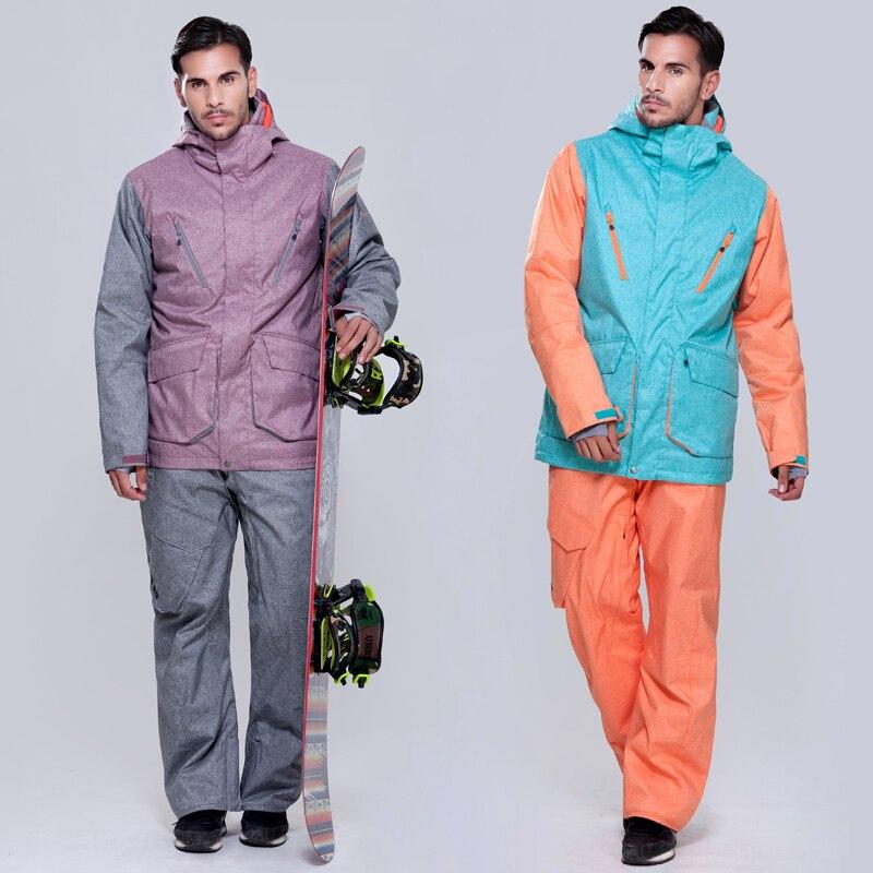 Prix pour Gsou snow MS01K hommes ski costume pantalon + vestes/set sports d'hiver snowboard hommes de ski coupe-vent imperméable fixe