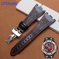 Genuine Leather watchband 28mm balck leather bracelet with folding buckle for AP