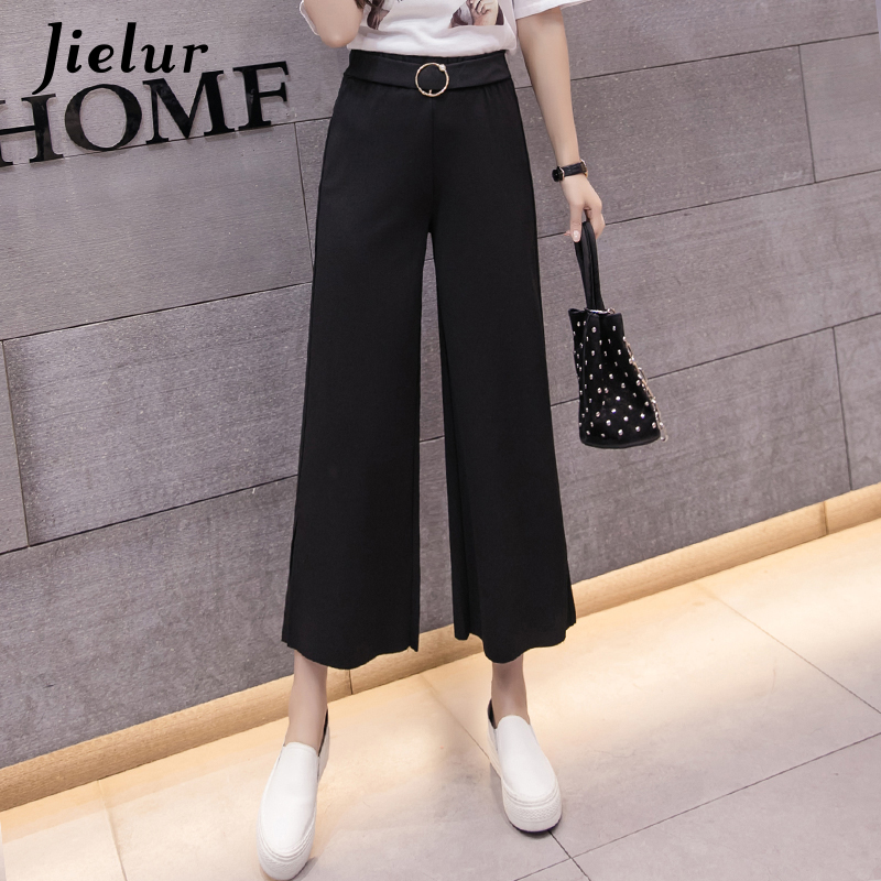 Jielur   Wide     Leg     Pants   Women Korean Harajuku Simple Black Trousers High Street Fashion OL Split Apricot Damskie Pantalon Femme