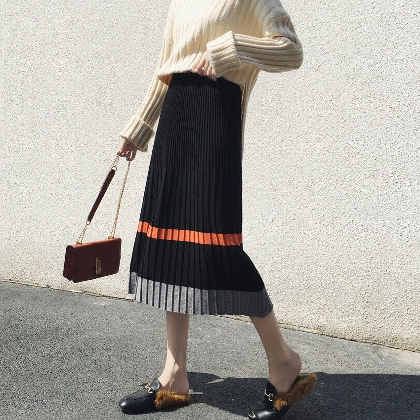 Kniting Skirt Patchwork long Jupes Tdvictory Haute Long Jupe Femmes 2018 Taille Skirt Mode Hiver Plissée Longues Automne Skirt short Élastique Tricoté De UxHq8w6S