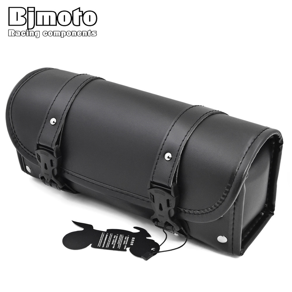 цена на BJMOTO New Motorcycle PU Leather Front Fork Tool Bag Luggage Saddle Bag For Harley Chopper Bobber Cruiser Dyna Softail Sportster