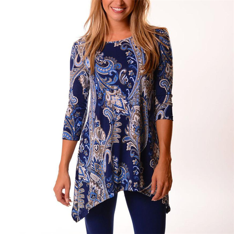 2019 New Women Blue Vintage Floral Shirt Polyester O-Neck  Spring Autumn Three Quarter Sleeve Loose Blouse S-XLKTR#62