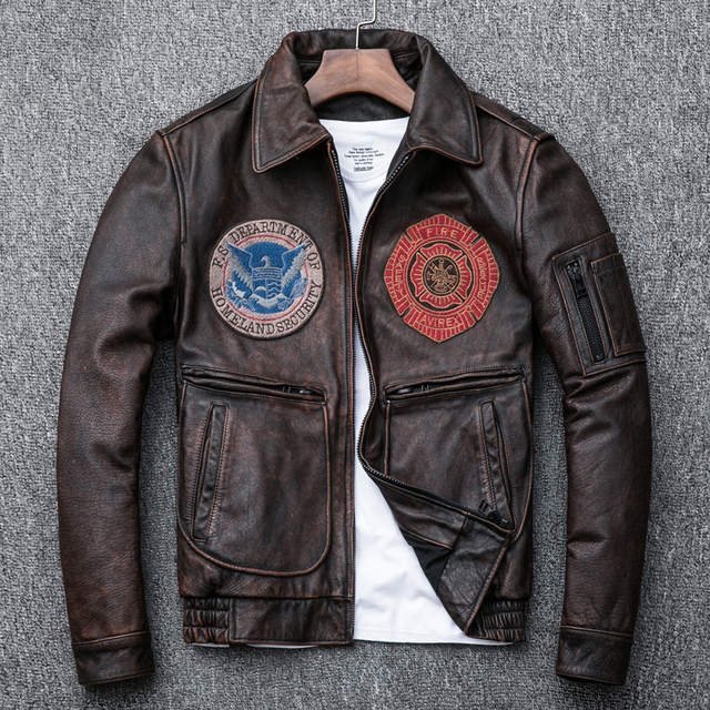 2510697e7 US $220.0 |Vintage Reddish Brown Air Force G1 Flight Jecket Winter Genuine  Leather Jacket Men Hand Washed Cow Leather Bomber Coat For Male-in Genuine  ...